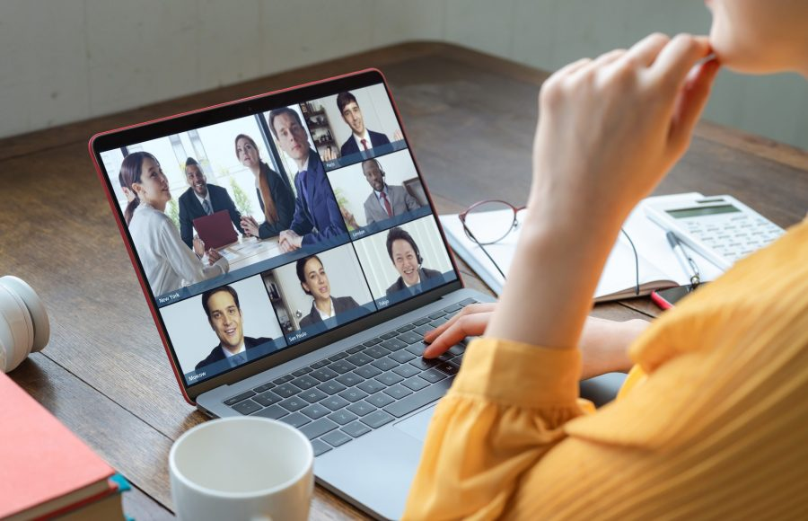 Video conference concept. Telemeeting. Videophone. Teleconference.