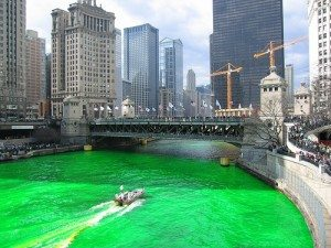 Chicago river dyed green (nope, not ink! )