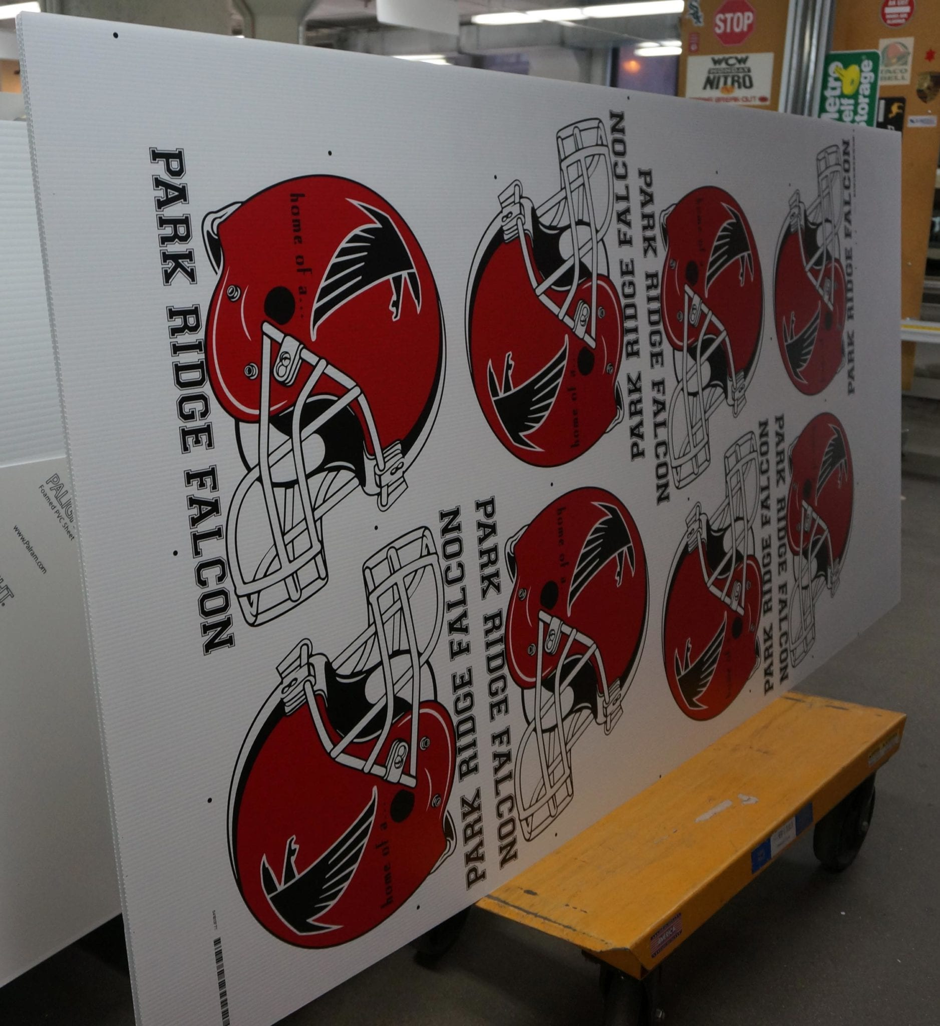 Corrugated School Signage for the Park Ridge Falcons