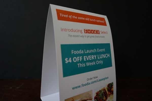 Table Tent for Fooda Promotion