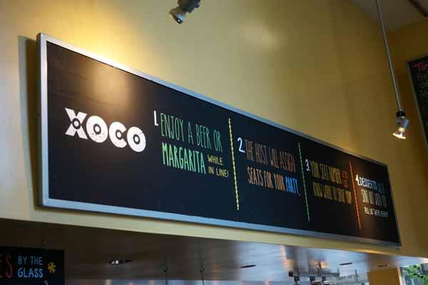 Xoco Restaurant Menu Board