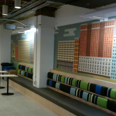 Common Area Wall Graphics at Yelp Installed With Dreamscape Suede Wallcovering