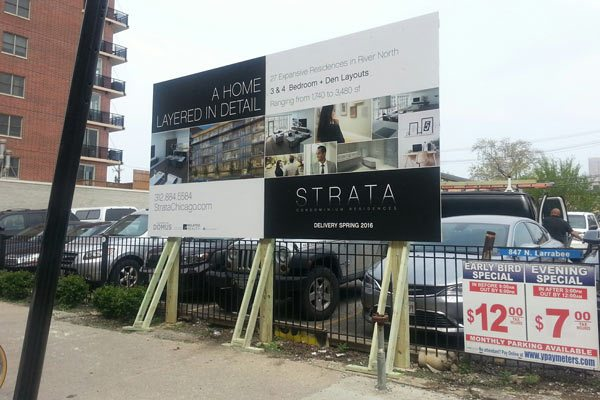 Strata Chicago Construction Fence Sign