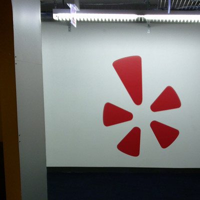 Printed and Installed Yelp Logo Using Dreamscape Wallcovering