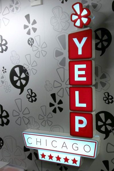 3D Lit Sign at Yelp Office