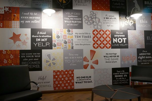 Learn and Earn Credits at Cushing 4 Yelp Reception Wall Graphics Case Study