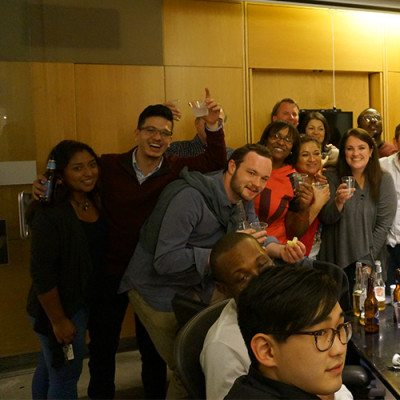 Cushing Team Celebrates During Company Party