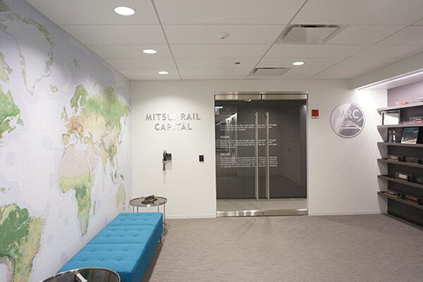 Map wall graphics with 3d lettering and logo