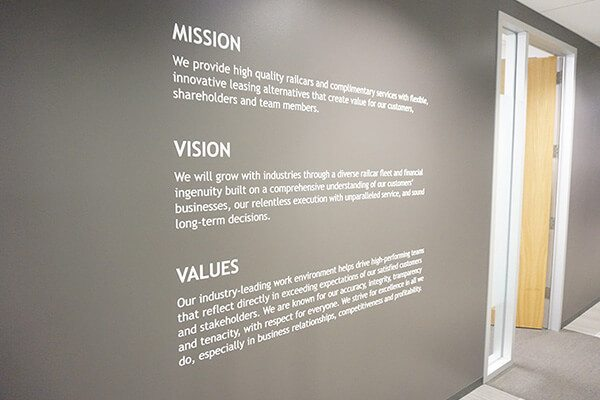 Mission vision and values wall graphic