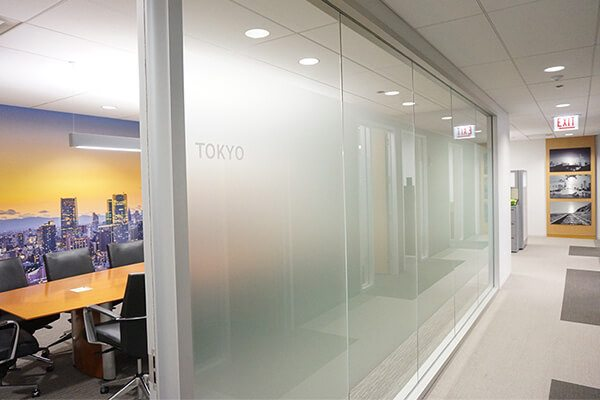 Tokyo conference room vinyl with wall graphic in background