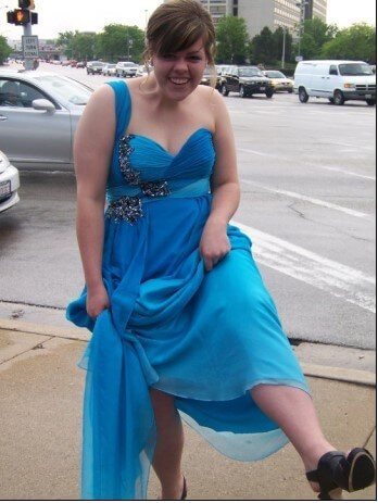 Here's Color Project Manager Julia kicking off her prom night by showing off her new kicks!