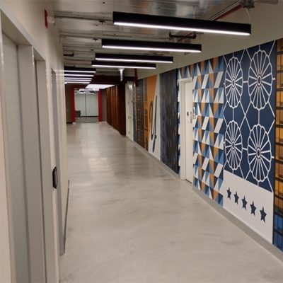Side View of Yelp Chicago Hallway Graphics (Print and Install With Dreamscape Suede Wallcovering)