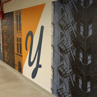 Colorful Wall Graphics Printed and Installed at Yelp in Downtown Chicago (Dreamscape Suede Wallcovering)