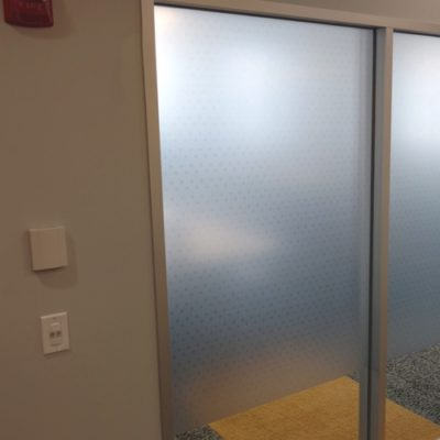 Office Privacy Film Printed and Installed in Yelp Breakroom