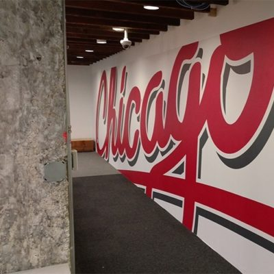 Side View of Yelp Chicago Graphic (Behind Reception Desk) Print and Install With Dreamscape Suede Wallcovering