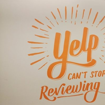 Wall Graphic Printed and Installed at Yelp With Dreamscape Suede Wallcovering