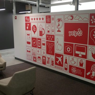 Red and White Wall Graphics Installed at Yelp (Print and Installed Using Dreamscape Suede Wallcovering)