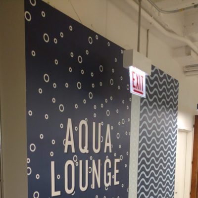 Aqua Lounge Graphics at Yelp (Print and Install with Dreamscape Suede Wallcovering)