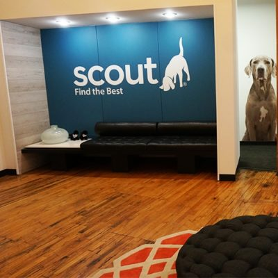 Scout Exchange Office Entrance With Welcoming Wall Graphics.