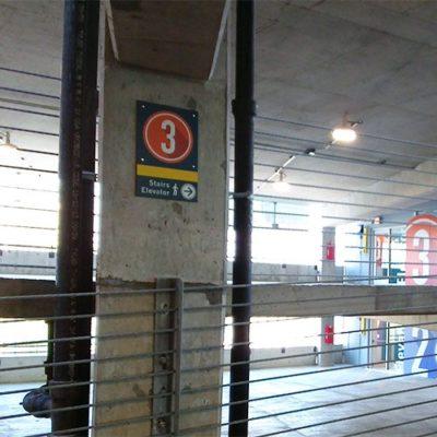 Wayfinding Signs in Parking Garage