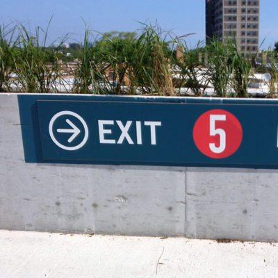 Outdoor Wayfinding Sign in Parking Lot