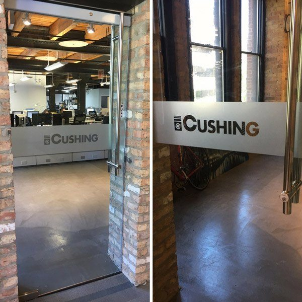 Moving Right Along 3 Cushing Entrance Window Graphics at 213 West Institute