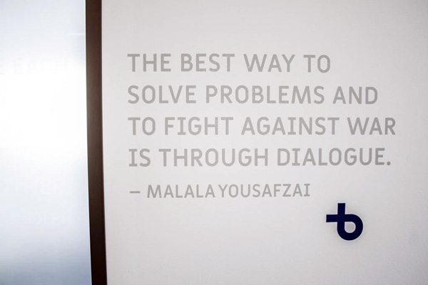 Installed Privacy Film With Quote from Malala Yousafi