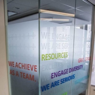 Privacy Film With Messaging in Office