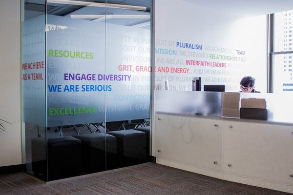 Privacy Film at IFYC Reception Desk