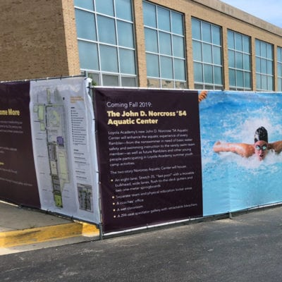 Close Up of Loyola Fence Wrap Banners