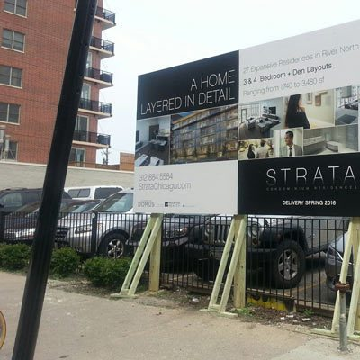 Strata Chicago Construction SIgn