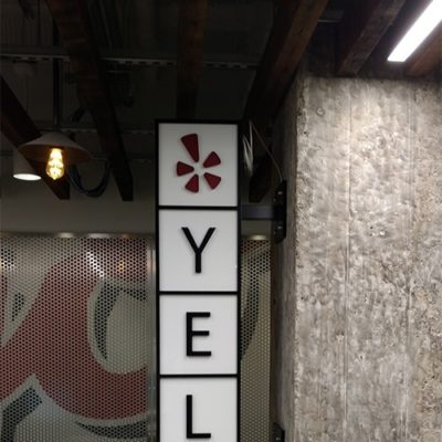 Yelp Sign Installed Inside Office