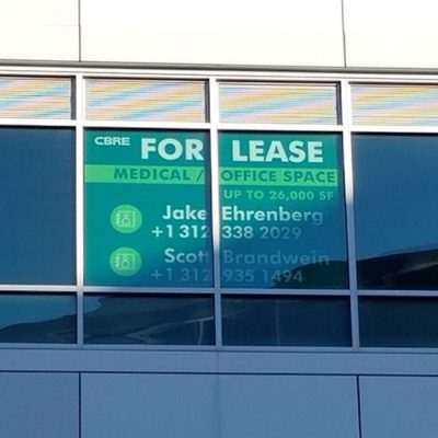 CBRE Window Graphic For Lease