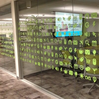 Cut and Weeded Window Film for Groupon Conference Room