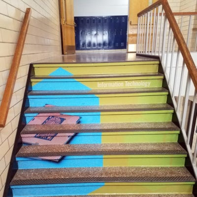 Stair Graphics Enhance Hallways
