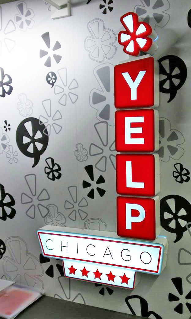 Yelp 3D Sign With Lightbox
