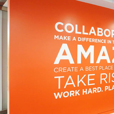 Finn Partners Wall Graphics With Encouraging Messages