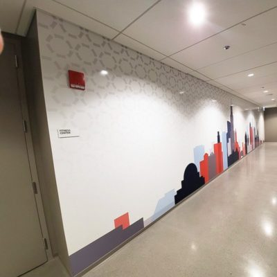Wide View of Wall Graphics Installed in Hallway.