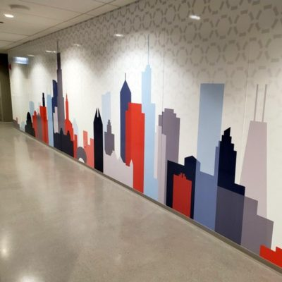 Skyline Office Graphic Printed and Installed by Cushing.