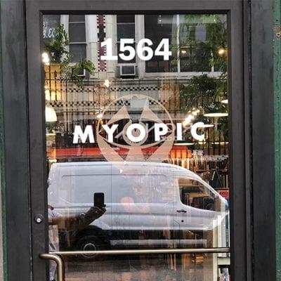Myopic Books Front Door Window Graphic