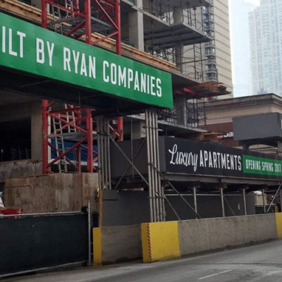 Construction Sites Installed in Downtown Chicago for Ryan Companies.