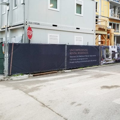 Fence Banners Block Off Construction Site