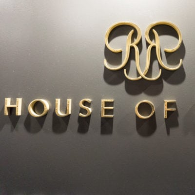 Close Up of Gold Dimensional Lettering at House of Rohl