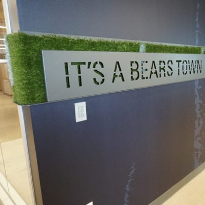 Bears Custom Signage Installed Power Coated Steel With Bears Town Messaging (Word Bands are Removable)