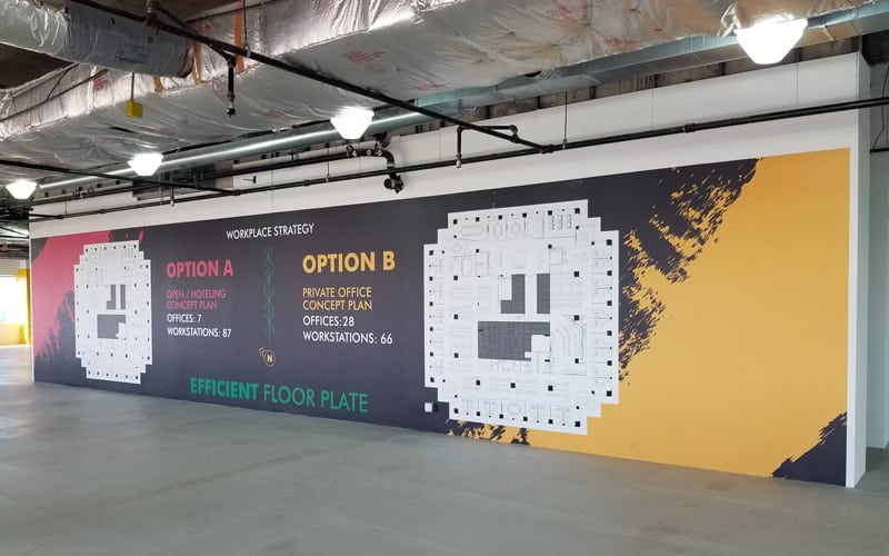 Side View of Marketing Center Wall Graphic