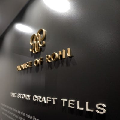 Close Up of Dimensional Lettering at House of Rohl