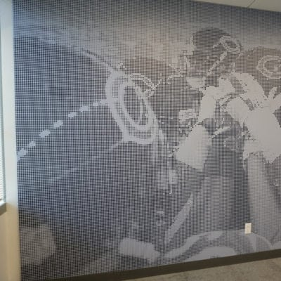 Wall Graphic With Bears Players on Field