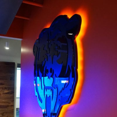 Acrylic Backlit Bears Head Graphic at Reception Desk