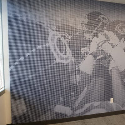 Bears Team Wall Graphic in Hallway