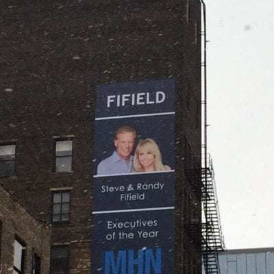 Fifield Banner Printed Installed to Building Exterior